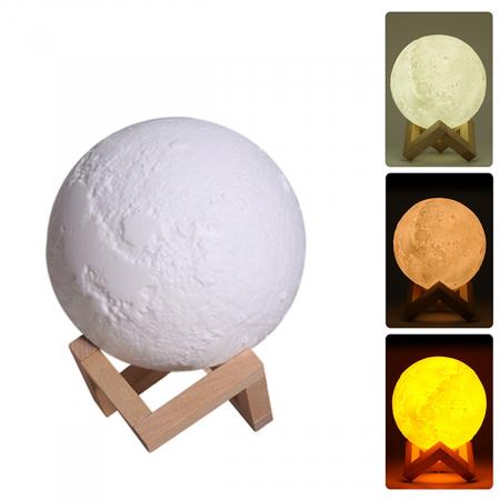 Umidificator lampa veghe, Luna Moon 3D cu suport de lemn [1]