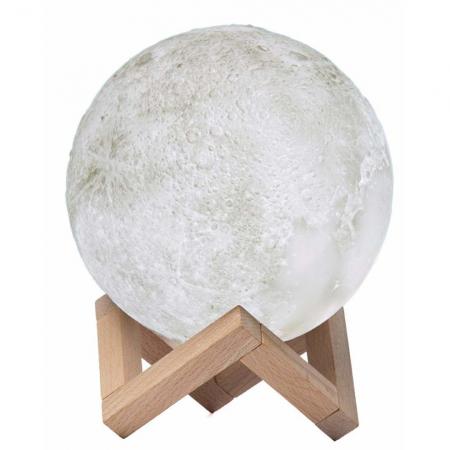 Umidificator lampa veghe, Luna Moon 3D cu suport de lemn [3]