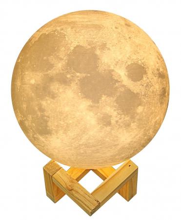 Umidificator lampa veghe, Luna Moon 3D cu suport de lemn [6]