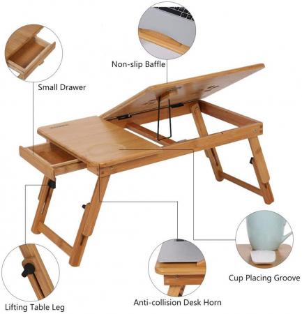 Masuta pliabila laptop din lemn de bambus cu 2 coolere si sertar [3]