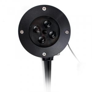 Proiector exterior metalic cu LED RGB si  joc fulgi albi de zapada IP653