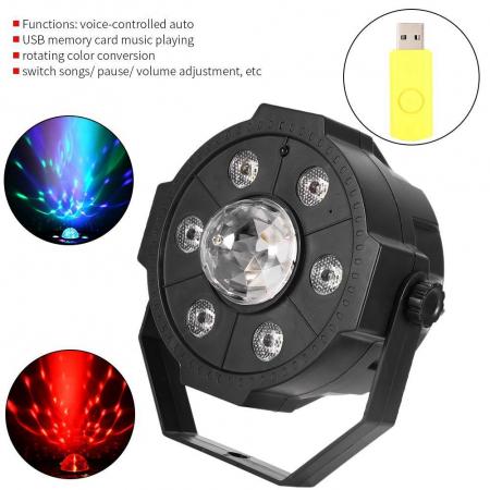 Proiector Jocuri Lumini Disco cu Telecomandă, Muzică USB și Bluetooth, 6+1 LED RGB [3]