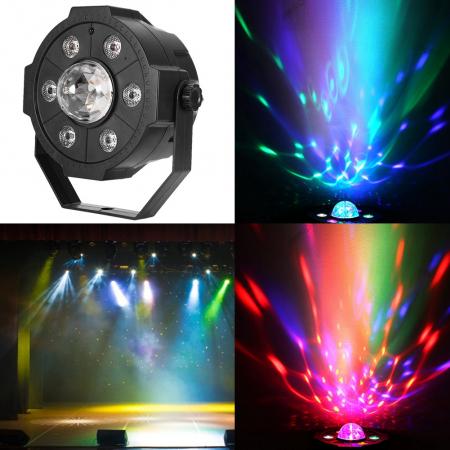 Proiector Jocuri Lumini Disco cu Telecomandă, Muzică USB și Bluetooth, 6+1 LED RGB [4]