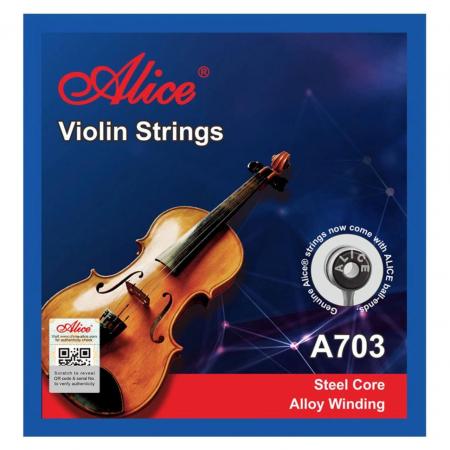 Set 4 corzi pentru vioara Alice A703A, din otel cu invelis nickel [2]