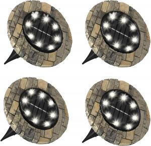 Set 4 lampi solare cu aspect de piatra si 8 LED-uri,inclus senzor de lumina0