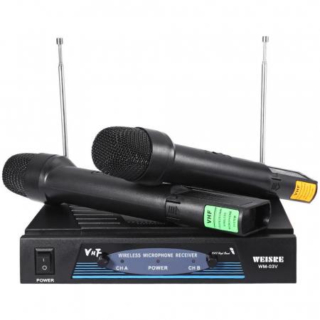 Set 2 microfoane profesionale wireless cu receiver, VHF Weisre WM-03V0