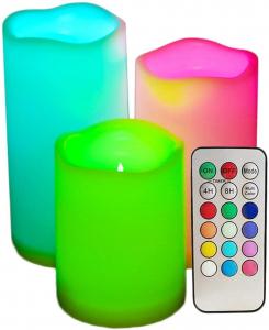 Set 3 lumanari din ceara cu LED electronice 12 culori si telecomanda2