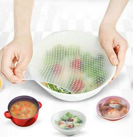 Set 4 folii pentru alimente din silicon reutilizabile, Stretch and Fresh [1]