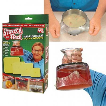 Set 4 folii pentru alimente din silicon reutilizabile, Stretch and Fresh [2]