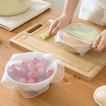 Set 4 folii pentru alimente din silicon reutilizabile, Stretch and Fresh [4]