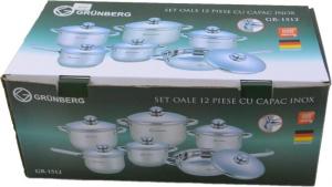 Set de oale din inox cu capac 12 piese Grunberg GR-1512 [0]