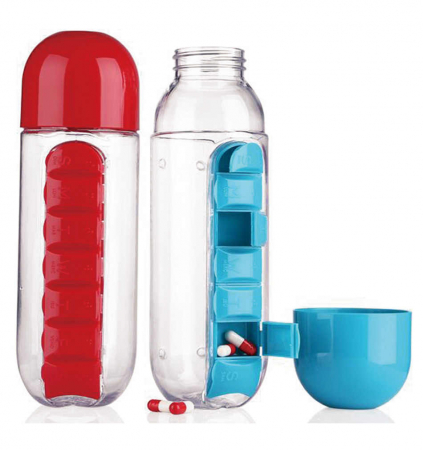 Sticla de apa cu organizator de vitamine sau medicamente, Pill & Vitamin Organizer Water Bottle [0]