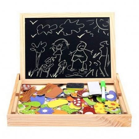 Tablita magnetica cu 2 fete si accesorii cu puzzle magnetice [2]