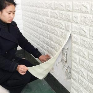 Tapet 3D Alb design perete modern din caramida in relief,77x70 cm3