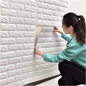 Tapet 3D Alb design perete modern din caramida in relief,77x70 cm1