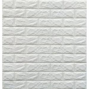 Tapet 3D Alb design perete modern din caramida in relief,77x70 cm0