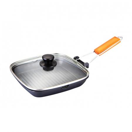 Tigaie aluminiu grill teflonat cu capac si maner detasabil, Grunberg HXG36LD [0]