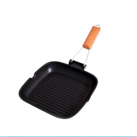 Tigaie aluminiu grill teflonat cu capac si maner detasabil, Grunberg HXG36LD [1]