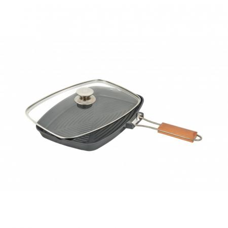 Tigaie aluminiu grill teflonat cu capac si maner detasabil, Grunberg HXG36LD [2]