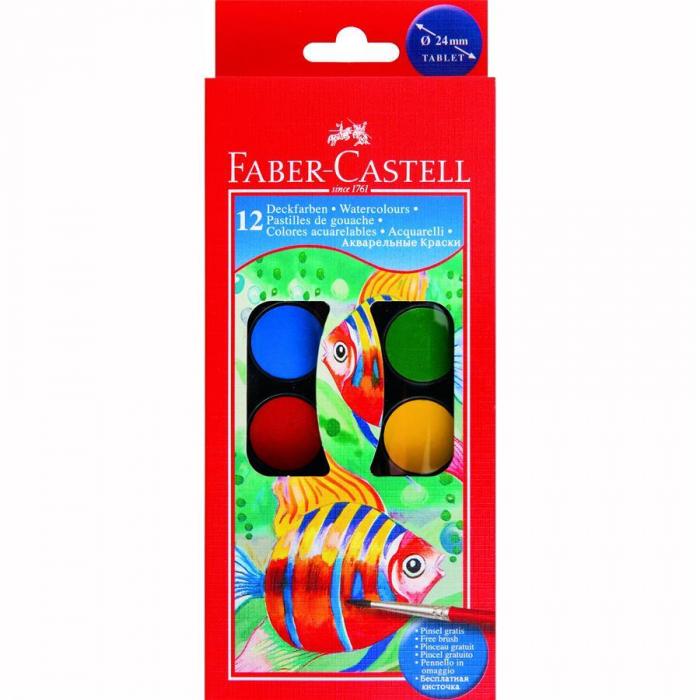 Acuarele 12 culori Pensula Faber-Castell 0