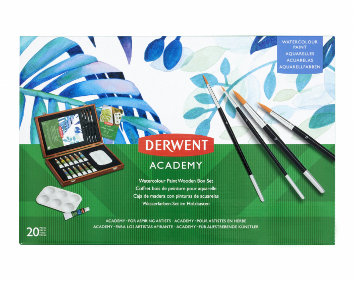 Acuarele 12 Culori x 12 ml, cutie din lemn, 20 buc/set Derwent Academy 6