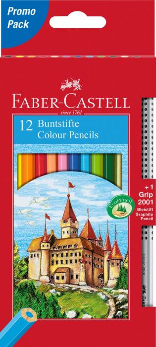Creioane Colorate 12 Culori si 1 Grip 2001 Fighting Knights Faber-Castell 0