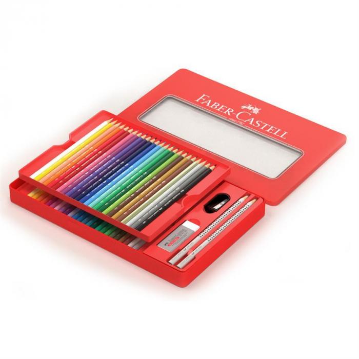 Creioane Colorate 48 Culori si 4 Accesorii Cutie Metal Faber-Castell 3