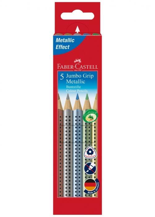 Creioane Colorate 5 Culori Metalizate Jumbo Grip Faber-Castell 0