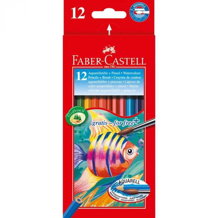 Creioane Colorate Acuarela 12 Buc si Pensula Faber-Castell 0