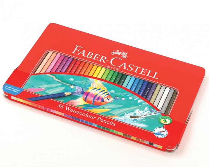 Creioane Colorate Acuarela 36 Buc cu Pensula Cutie Metal Faber-Castell 0