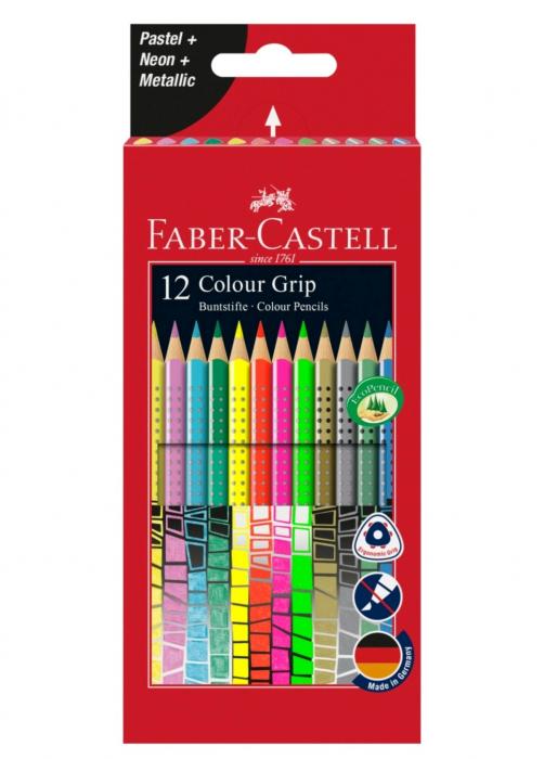 Creioane Colorate Grip 12 culori Speciale(4 neon+4 pastel+4 metalice) Faber-Castell 0