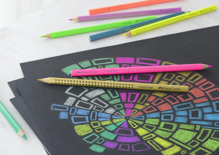 Creioane Colorate Grip 12 culori Speciale(4 neon+4 pastel+4 metalice) Faber-Castell 1