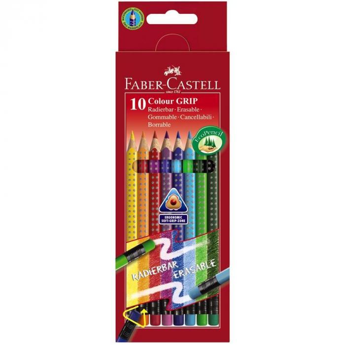 Creioane Colorate Grip 2001 10 Culori Cu Guma Faber-Castell 0