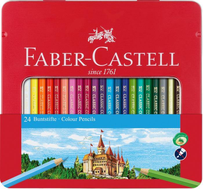 Creioane Colorate In Cutie Metal 24 culori cutie metal 2 Faber-Castell 0