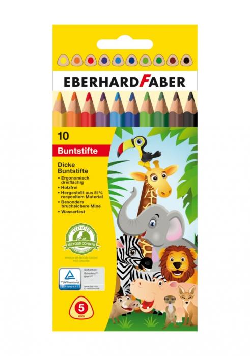 Creioane Colorate Plastic JUMBO 10 Culori EBERHARD FABER 0