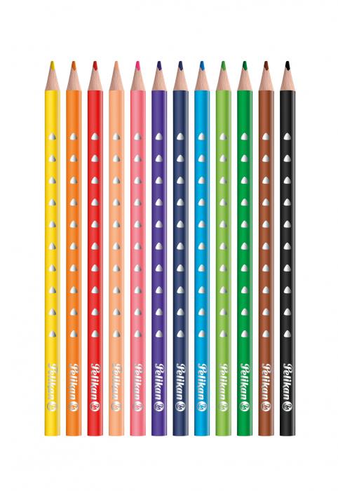 Creioane Colorate SILVERINO LACUITE, Set 12 Culori Pelikan [1]