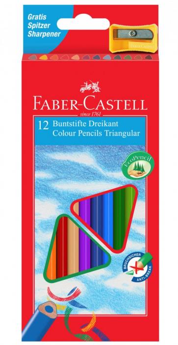 Creioane Colorate Triunghiulare cu Ascutitoare Eco 12 culori Faber-Castell 0