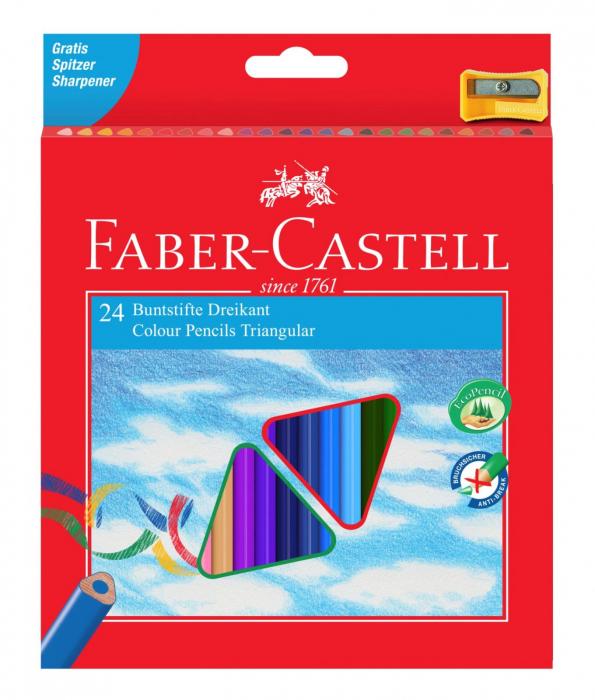 Creioane Colorate Triunghiulare cu Ascutitoare Eco 24 culori Faber-Castell 0