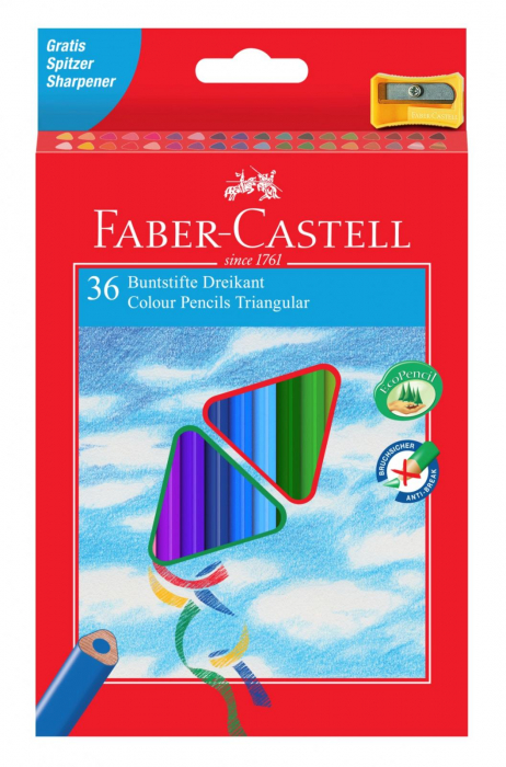 Creioane Colorate Triunghiulare cu Ascutitoare Eco 36 culori Faber-Castell [0]