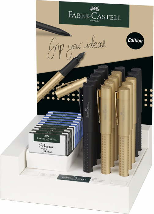 DISPLAY 15 BUC STILOU GRIP 2011 BLACK&GOLD FABER-CASTELL 0