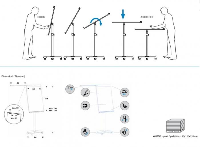 Flipchart Multifunctional mobil 360° magnetic, reglabil pe inaltime, Rocada 10