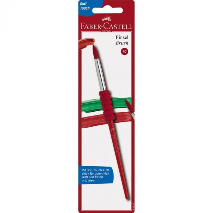 Pensula Soft Touch nr.10, rosie, varf rotund Faber-Castell 0