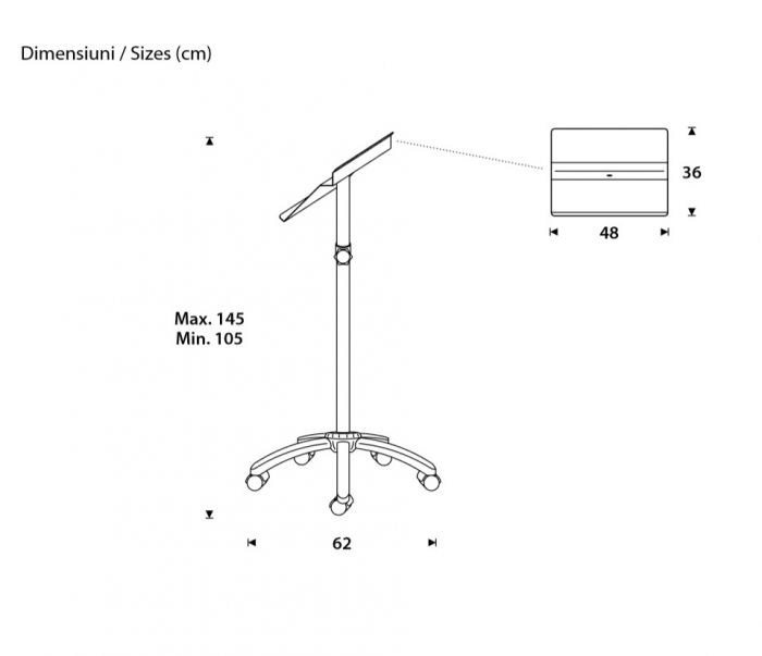Pupitru mobil pentru prezentari, metalic, inaltime reglabila Rocada 1