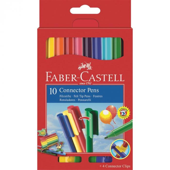 Set 10 culori Carioca Connector Faber-Castell 0