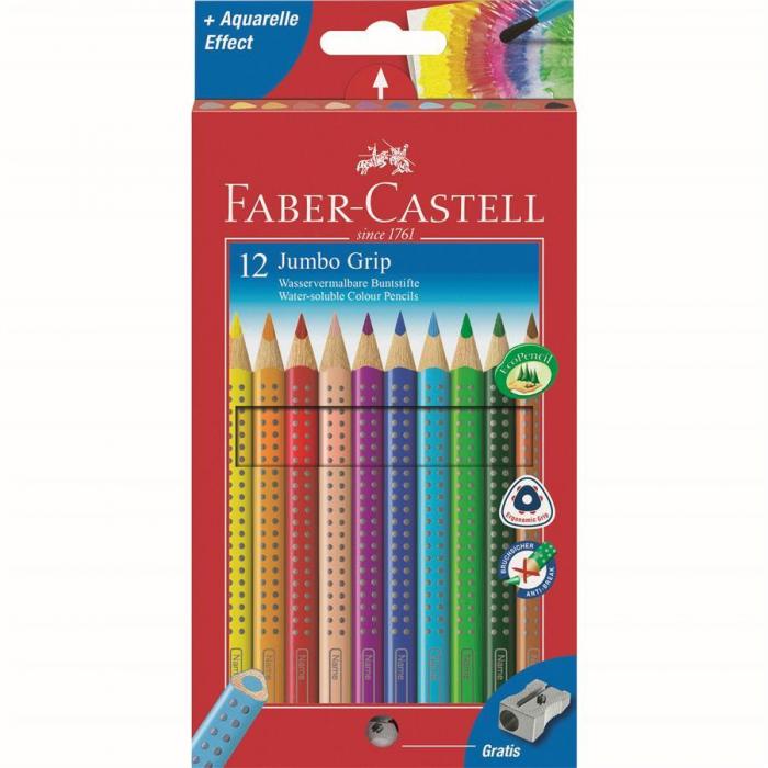 Set 12 culori+ascutitoare Creioane Colorate Jumbo Grip Faber-Castell [0]