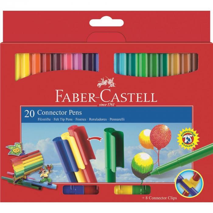 Set 20 culori Carioca Connector Faber-Castell [0]