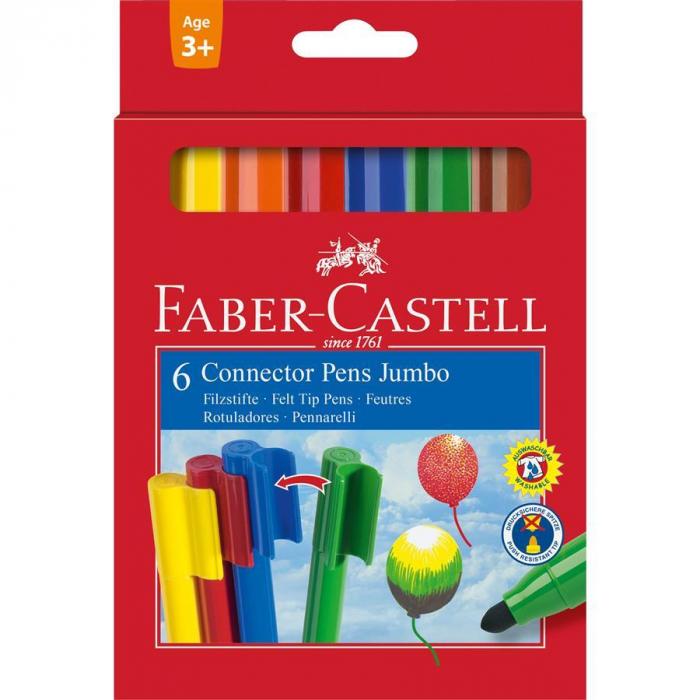 Set 6 culori Carioca Connector Jumbo Faber-Castell [0]