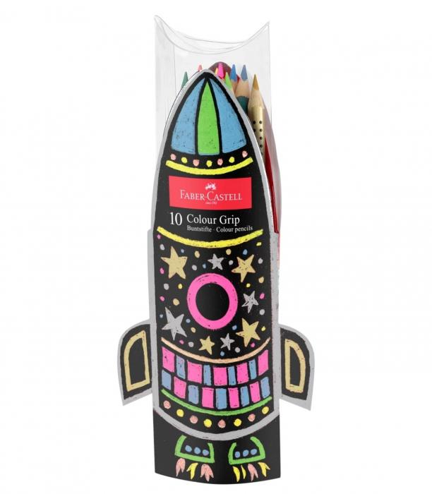Set Cadou Racheta Creioane Colorate Grip 5 Neon + 5 Metalizate Faber-Castell 0