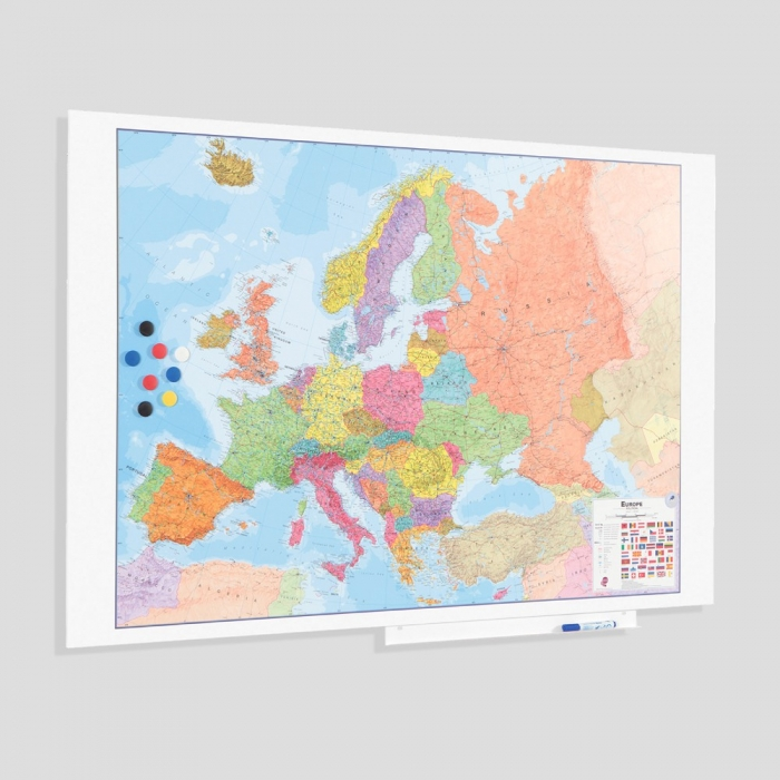 Harta Europa, Skinmap magnetic cu suprafata lacuita 100 x 150 cm Rocada 0