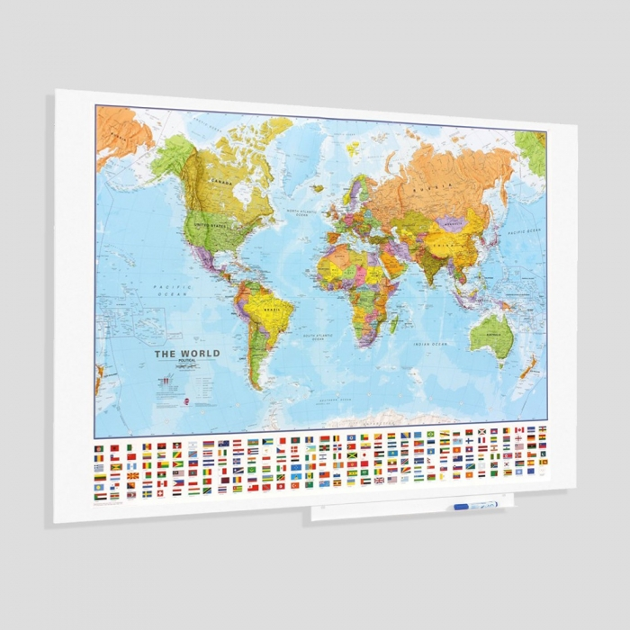 Harta World, Skinmap magnetic cu suprafata lacuita 100 x 150 cm Rocada 0